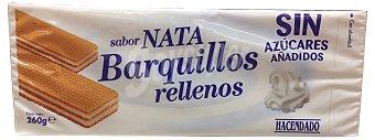 Hacendado Barquillo cuadrado relleno nata sin azucar/fructosa Caja 260 g