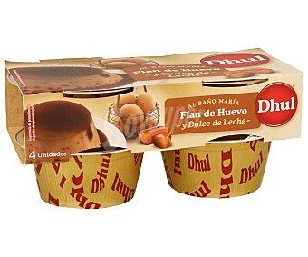 Dhul Flan de huevo y dulce de leche Pack de 4 unidades de 110 gramos
