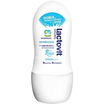 Lactovit Desodorante roll-on Original con sales de calcio y antitranspirantes sin alcohol envase 50 ml con doble de vitaminas y proteínas de la leche Envase 50 ml