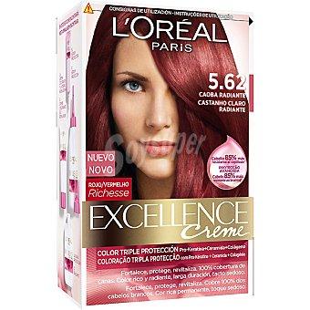 Excellence L'Oréal Paris Tinte Caoba Radiante nº 5.62 crema color triple cuidado con Pro-keratina + Ceramida + Colágeno Caja 1 unidad