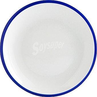 LUMINARC Colortronic Plato de postre de porcelana en color blanco con filo azul 205 cm