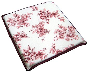 AUCHAN Cojín cuadrado estampado para taburete, modelo Panama, color rosa 30x30 centímetros 1 Unidad