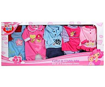 Rik&Rok Auchan Caja de 5 Vestidos para tus Muñecos Bebes 1 Unidad