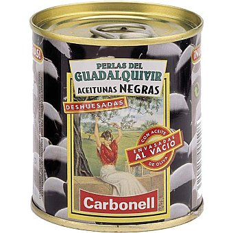 CARBONELL PERLAS DEL GUADALQUIVIR Aceitunas negras sin hueso Lata 85 g neto escurrido