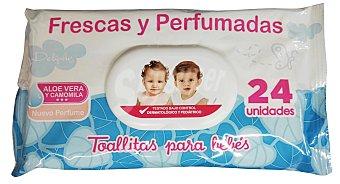 DELIPLUS Toallitas húmedas bebé frescas y perfumadas con aloe vera y camomila (nuevo perfume) Paquete de 24 unidades