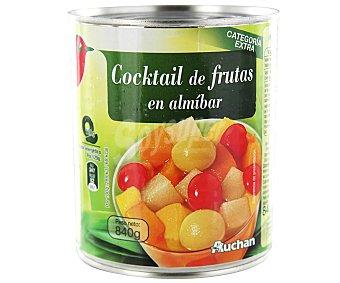 Auchan Cocktail de frutas (melocotón, pera, piña, uva y cereza ) en almíbar 480 gr