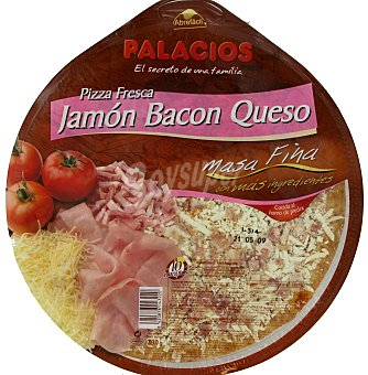 Palacios Pizza Masa Fina Jamón, Bacón, Queso 390 Gramos