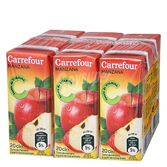 Carrefour Zumo de manzana concentrado 6 bricks de 20 cl