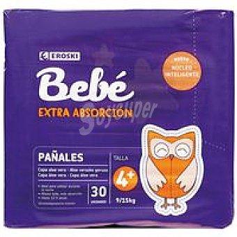 EROSKI Bebé Pañal aloe absor. extra Talla 4+ Paquete 30 unid