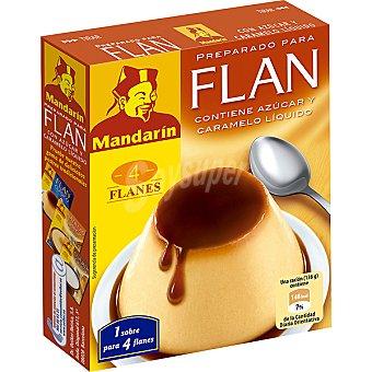 Mandarin Flan para preparar contiene azúcar y caramelo líquido 4 sobres estuche 95 g