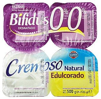 HACENDADO Yogur bifidus desnatado cremoso natural edulcorado 4 unidades de 125 g