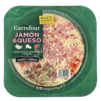 Carrefour Pizza fresca de jamón y queso Pack de 2x225 g