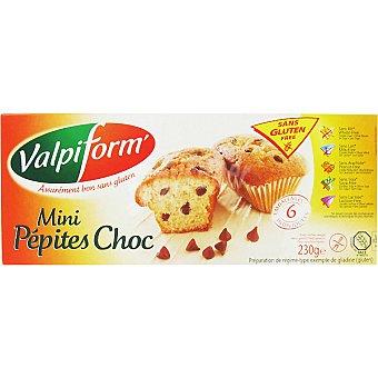 VALPIFORM minibizcochos con pepitas de chocolate sin gluten envase 230 g 6 unidades