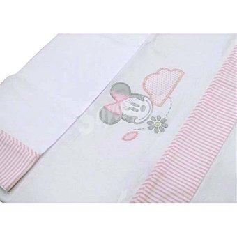 Disney Juego de sábanas de Minnie con cenefa a rayas rosas para cuna