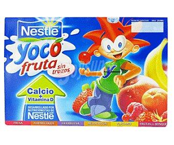 Nestlé Yoco Panaché Frutas ( Fresa, Albaricoque, Frambuesa, Melocotón, Plátano y Frutas del bosque)yoco de nestlé Pack 6 Unidades de 100 Gramos (4,00€/KG ) 6x100g
