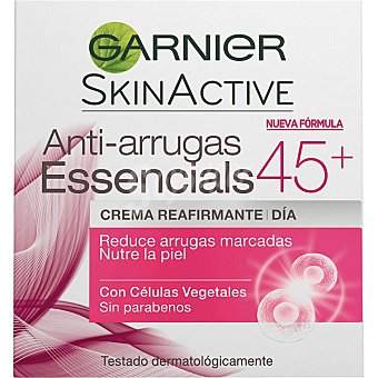 GARNIER SKIN ACTIVE Essencials crema de dia anti-edad multiaccion +45 años tarro 50 ml reduce el numero y superficie de arrugas y fortalece el contorno facial Tarro 50 ml
