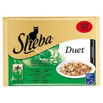 Sheba Duet mousse mixto de pollo-trucha Pack 4x85 g