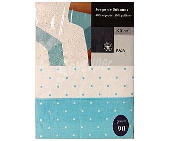 AUCHAN Juego de sábanas estampado lunares, color azul celeste para cama de 90 centímetros 1 Unidad