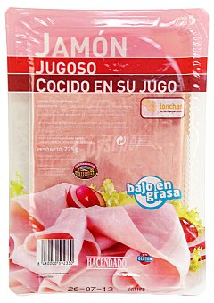 Hacendado Jamon cocido jugoso lonchas Paquete 225 g