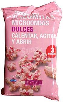 Hacendado Palomitas microondas dulces (color rosa) Pack 3 x 105 g - 315 g
