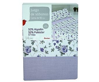 Auchan Juego de sábanas de 3 piezas color azul estampado Flor, 50% algodón, 50% poliéster para cama de 90 centímetros 1 unidad