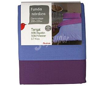 Auchan Funda para edredón nórdico de 135 centímetros, bicolor azul lavanda y morado 1 Unidad