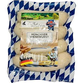 Wolf Salchichas Weisswurst de cerdo blancas con tripa natural 4 piezas sin gluten sin lactosa Envase 240 g