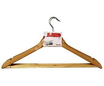 Auchan Perchas de madera natural con barra para camisas, abrigos, pantalones Pack 3 unidades