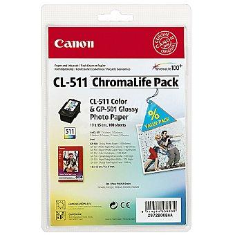 CANON CL-511 Pack cartucho tricolor con papel GP 501