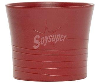 Tresdogar Maceta cerámica, decorada con una estrella, de color rojo y con medida de 12x10 centímetros TRESDOGAR 12cm
