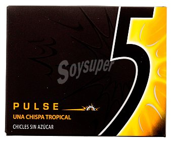 Five Chicles sabor tropical (sin azucar) Paquete con 12 l