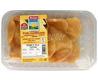 ALCAMPO PRODUCCIÓN CONTROLADA Bandeja de pechuga fileteada de pollo certificado 600 gramos aproximados