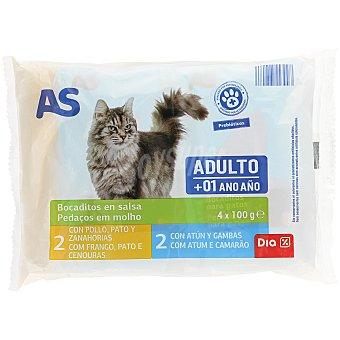 AS Alimento para gatos trozos en salsa sobres 4x100 gr