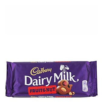 Cadbury Dairy Milk Chocolate con leche, frutos secos y pasas 120 g