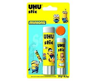UHU Lote de 2 barras adhesivas, 1 de 21 gramos y otra de 8 gramos, decoradas con divertidos dibujos de los Minions 1 unidad