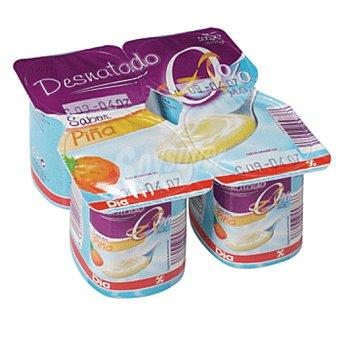 DIA yogur piña desnatado pack 4 unidades 125 g