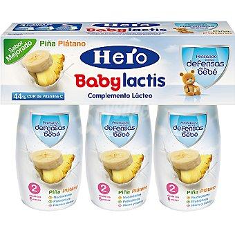Hero Baby Leche infantil desde los 6 meses Lactis Piña y Plátano Pack 3 envase 100 ml