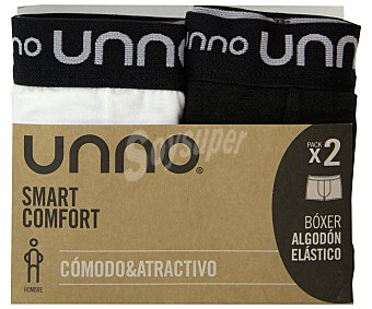 UNNO Smart comfort Pack de 2 bóxer de algodón unno UH103/2, color blanco/negro, talla L 2u