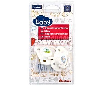 Baby Chupete anatómico de látex 0-4 Meses Blanco 2 Unidades