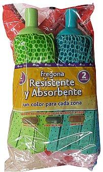 BOSQUE VERDE FREGONA TIRAS RESISTENTE Y ABSORBENTE VERDE Y AZUL (SUELOS DE INTERIOR Y EXTERIOR) PACK 2 u