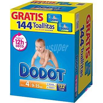 Dodot Pañales 9-15 kg TALLA 4 con regalo de toallitas Paquete de 144 unidades
