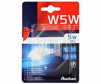 Auchan Bombillas convencionales para automóvil , modelo W5W, potencia: 5W 2 unidades