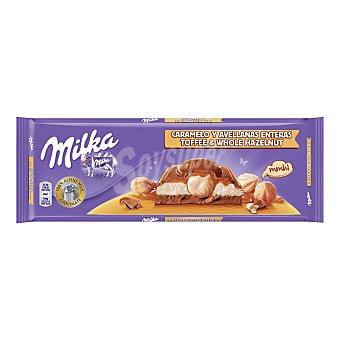 MILKA chocolate relleno caramelo y avellanas tableta 300 gr