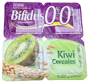 HACENDADO Yogur bifidus desnatado fibras trozos cereales y kiwi 4 unidades de 125 g (500 g)