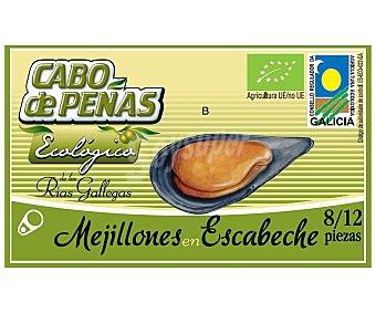 CABO DE PEÑAS mejillones en escabeche de las rías gallegas ecológicos 8-12 piezas  lata 69 g neto escurrido