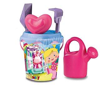 Disney Conjunto de juguetes de playa (pala, rastrillo, regadera, cubo...) y una mochila transparente para llevarlos y guardarlos con el diseño de la doctora juguetes 1 unidad