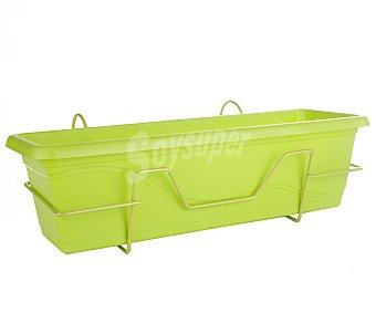 VAN Jardinera plástica, lisa, de color pistacho, con soporte de balcón y plato 1 unidad