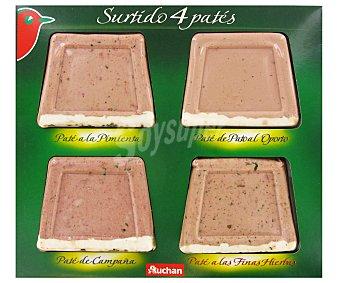 Auchan Tabla de patés: a la pimienta, a las finas hierbas, al oporto y de campaña 4 uds de 70 gr