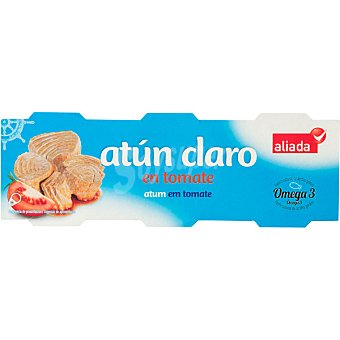 ALIADA Atún claro en tomate  Pack 3x52 g neto escurrido