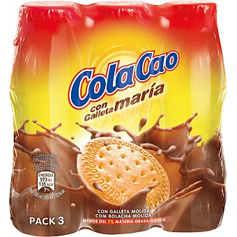 Cola Cao Batido de cacao con galleta molida Pack 3x188 ml